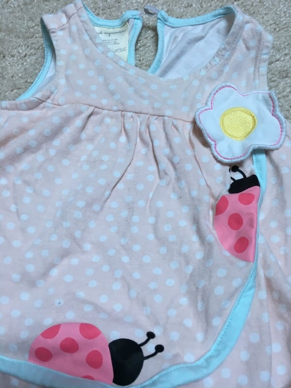 Size 3 months - 2 onesies, jeans, dress with diaper cover  1
