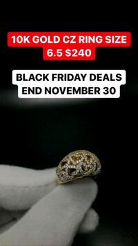 10K REAL YELLOW GOLD CZ RING WITH HEARTS  Toronto, M1K 1N8