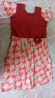 red, pink and green floral short sleeve dress