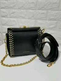 black leather crossbody bag with gold chain link b North Bergen, 07047