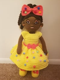 crochet doll in pink and black dress Waldorf, 20602