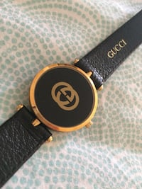 14k vintage pure gold genuine leather Gucci watch
