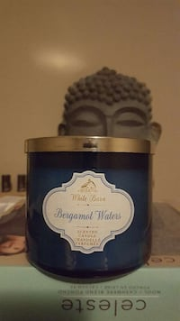 blue and silver White Barn Bergamot Waters scented candle chandelle parfumee Hamilton, L8V 2W6