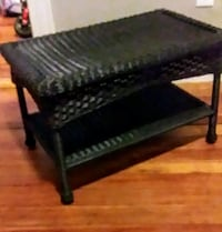 Dark Chocolate Brown Colored Synthetic Wicker Side Table