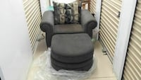gray fabric sofa chair and ottoman
