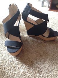 Black and brown leather open toe ankle strap wedges Essex, 21221