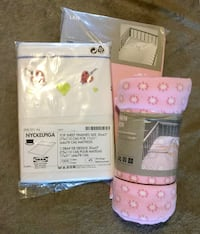 New, never used Pink crib set with 2 bottom sheets, 1 top sheet with embroidery, 1 fleece blanket Langley, V1M 2G2