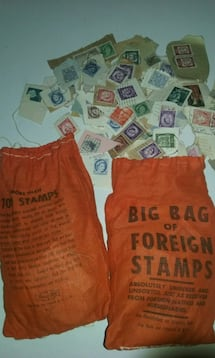 Two bags full of foreign stamps