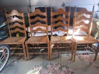 4 Vintage (1971) Ladder Back Chairs with Rush Seats Mineola