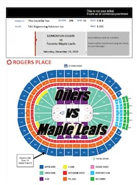 Oilers vs Maple Leafs: Sat, Dec 14 in Section 206