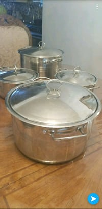 two stainless steel cooking pots 1022 mi