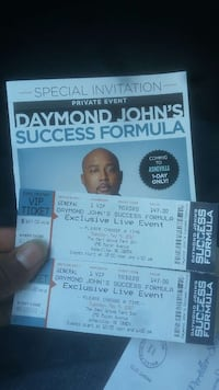 two Daymond John's Success Formula tickets