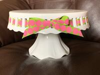 Pedestal Footed Cake Stand with Interchangeable Ribbon Trim
