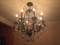 Black cast iron chandelier with crystal accents  New York, 11379