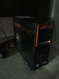 black and red computer tower