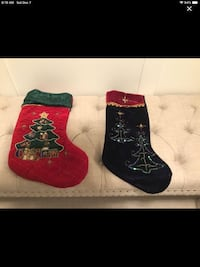 Christmas stockings red & navy velvet. Price is for both.