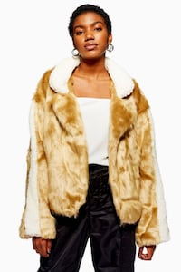 Borg Collar Cropped Fur Jacket XS Runs Big