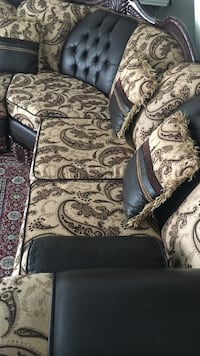 brown and white floral fabric sofa chair Arcade, 95825