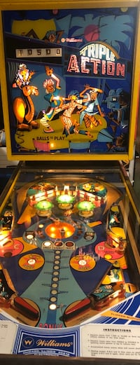 "PINBALL MACHINE ""Triple Action"" 1974 Williams One-Player EM  Orange, 06477"