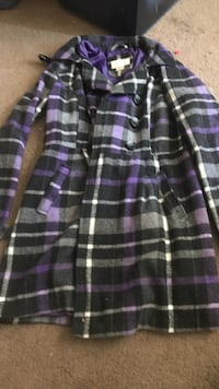 purple and black double breasted coat