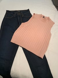 High waist skinny Jeans Size 1 (24) & Knit Tank $30 for both Langley, V1M 4B6