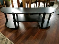 rectangular glass top with brown wooden base table Simcoe, N3Y 4A2