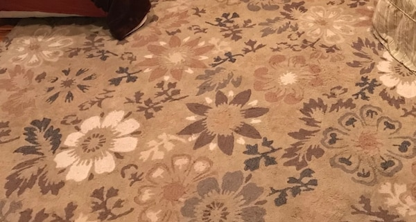 Used White Gold Brown Floral Area Rug 8 X 10 For Sale In San Jose