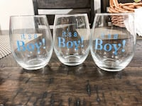 """it's a boy"" stemless wine glasses Chicago, 60618"
