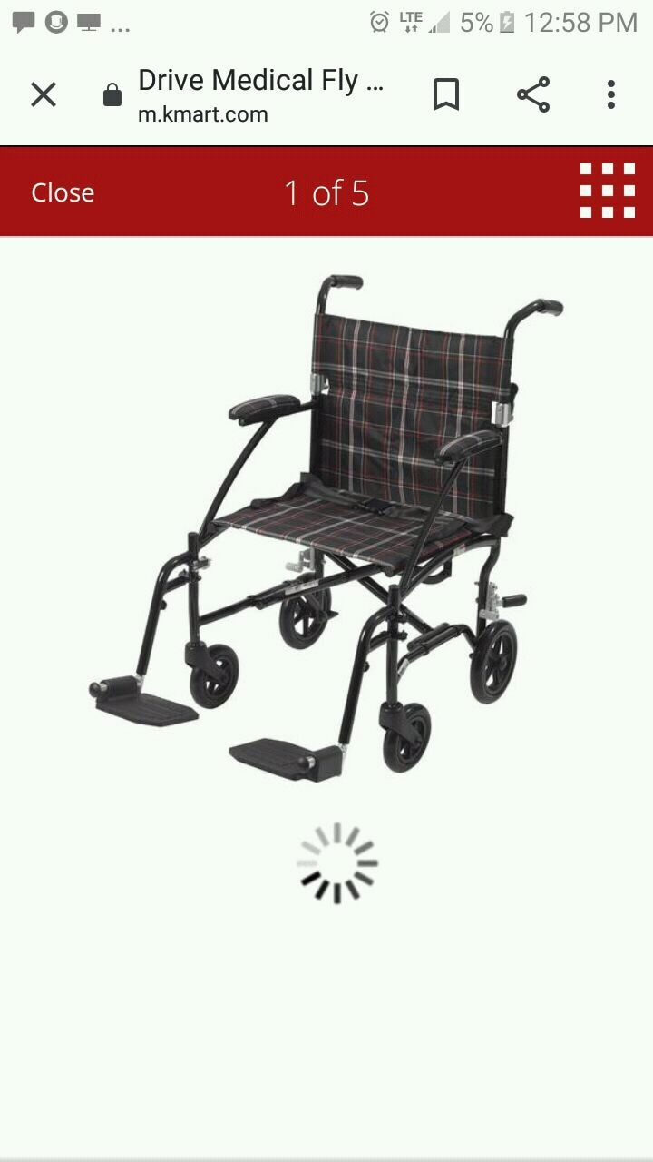 Photo NEW! Drive Medical Fly Lite Ultra Lightweight Transport Wheelchair