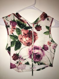 white, pink, and green floral spaghetti strap top