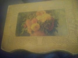 Rare Vintage Footed Cedar Wood Box Dovetail/Embossed/Floral Scene
