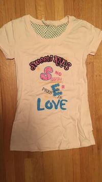 white and pink Love printed crew-neck t-shirt