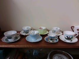 Tea cups and glass
