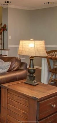 Two Pottery Barn rustic lamps with burlap shades  Chesapeake, 23320
