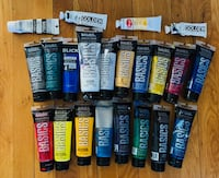 22 Tubes of Basics Acrylic Colors mainly by Liquitex 4-oz per bottle New York, 11418