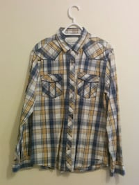 GUESS Blue/Yellow Plaid Long Sleeve Shirt (Extra Large)  Toronto