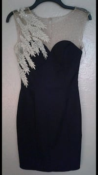 mini black Satin dress with pearl embroidery from Kenzel