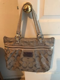 Silver monogrammed coach tote bag
