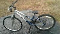 blue and gray Quest hardtail bicycle