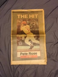 "Pete rose ""the hit"" newspaper. Reading, 45215"
