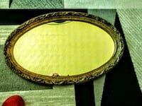 """Oval Gold Ornate Wood Ftame Mirror 26""""x 16""""vg  Port Dover, N0A 1N6"""