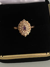 14k gold amethyst and diamonds ring size 6