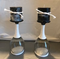 Black & White Wine Glass Candle Holders