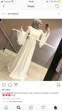White gown dress with detailed arms long sleeves abiye modest abaya dress 561 km