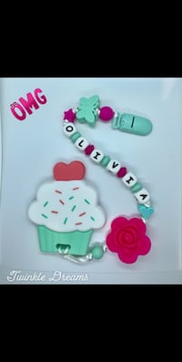 Customize cupcake baby teether