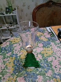 Christmas tree candlestick holder with clear glob. 659 mi