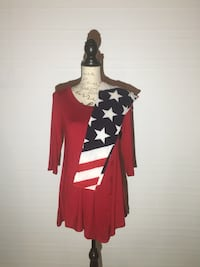 AMERICAN FLAG LEGGINGS AND RED TUNIC DRESS