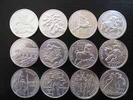round silver-colored coin collection