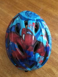 Teal and red Spider-Man helmets