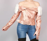 ROSE GOLD OFF SHOULDER JACKET